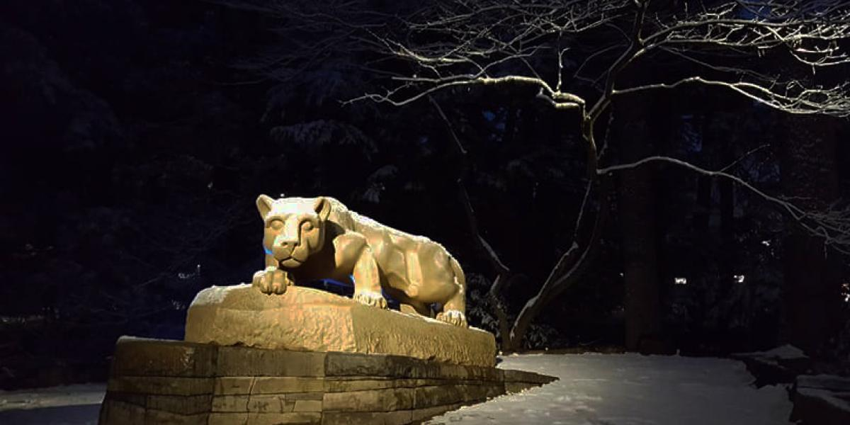 Evening image of the Lion Shrine in winter at Penn State